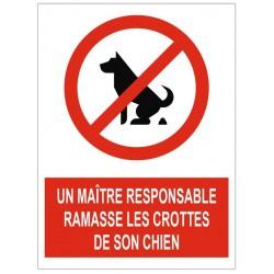 Panneau interdiction un maître responsable ramasse les crottes de son chien