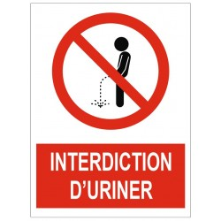 Panneau interdiction d'uriner