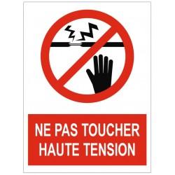 Panneau interdiction ne pas toucher haute tension