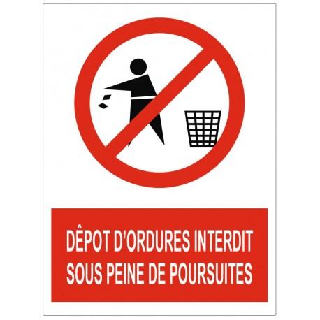 Panneau dépot d'ordure interdit