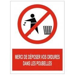 Panneau merci de déposer vos ordures dans les poubelles