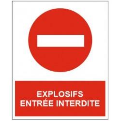 Panneau explosifs entrée interdite