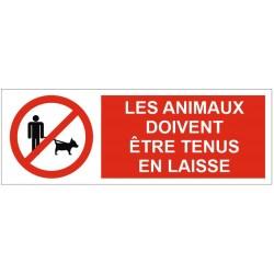 Panneau les animaux doivent être tenus en laisse