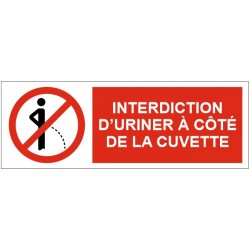 Panneau interdiction d'uriner à coté de la cuvette