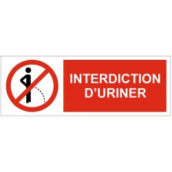 Panneau interdiction d'uriner