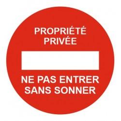Panneau propriété privée - ne pas entrer sans sonner