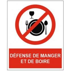 Panneau défense de manger et de boire