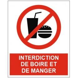 Panneau interdiction de boire et de manger