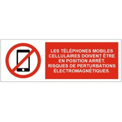 Panneau les téléphones mobiles cellulaires doivent être en position arrêt