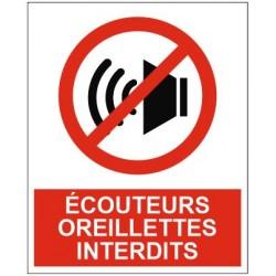 Panneau écouteurs oreillettes interdits