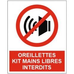 Panneau oreillettes kit mains libres interdits