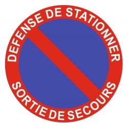 Panneau défense de stationner - sortie de secours