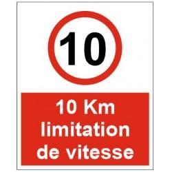 Panneau 10km limitation de vitesse