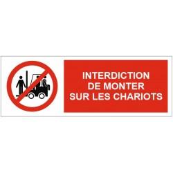Panneau interdiction de monter sur les chariots