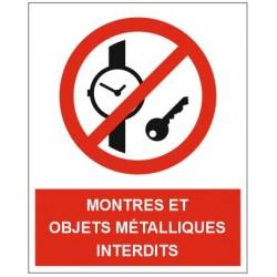 Panneau montres et objets métalliques interdits