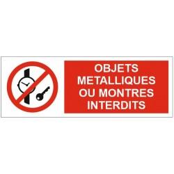 Panneau objets métalliques ou montres interdits