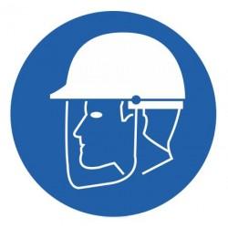 Panneau visière de protection et casque obligatoires
