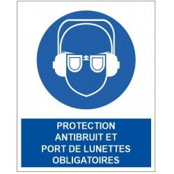 Panneau protection antibruit et port de lunettes obligatoires