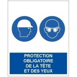 Panneau protection obligatoire de la tête et des yeux