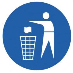 Panneau obligation de jeter à la poubelle