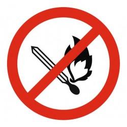 Panneau flammes nues, fumées et feux interdits