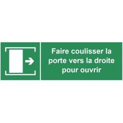 Autocollant faire coulisser la porte vers la droite pour ouvrir